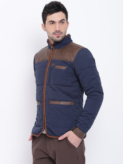 Men Casual Solid Blue Padded Jacket - JUMP USA