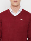 JUMP USA Men Red Self Design Sweater - JUMP USA