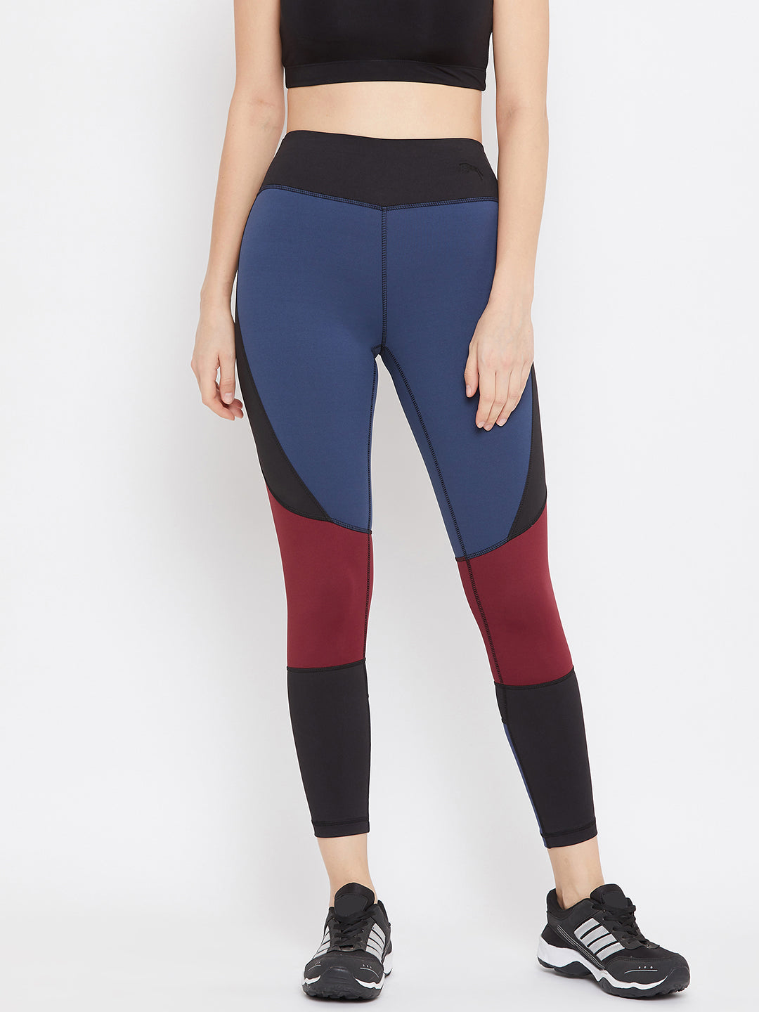 JUMP USA Women Blue & Red Colourblock Active Wear Tights