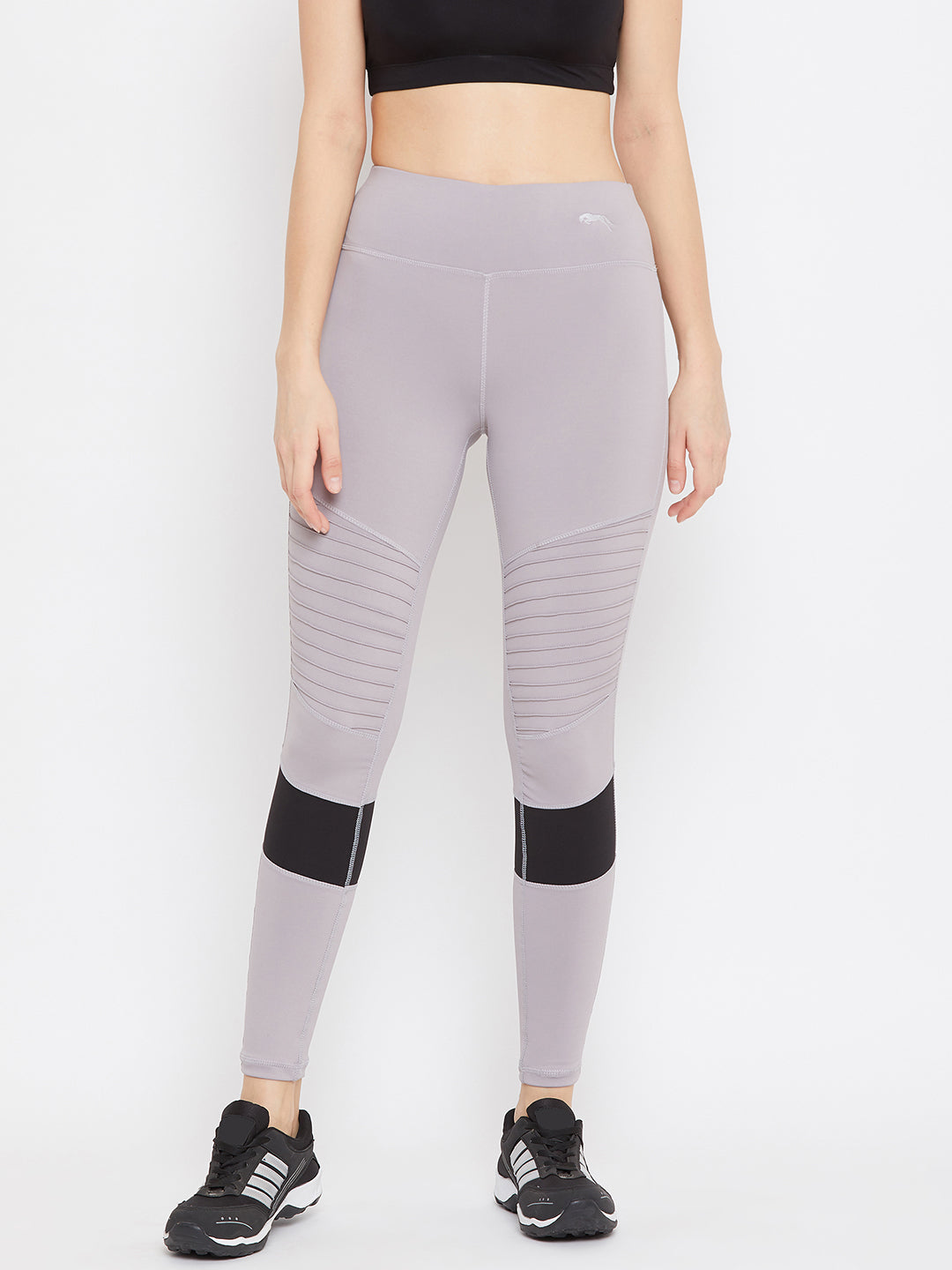 JUMP USA Women Grey Solid Active Wear Tights