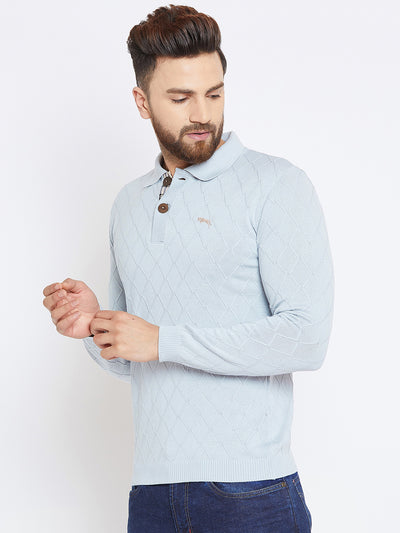 Men Blue Casual Solid Sweater - JUMP USA