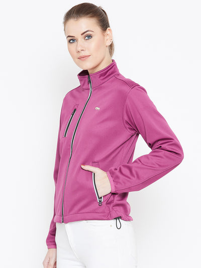 Women Maroon Solid Sporty Jacket - JUMP USA