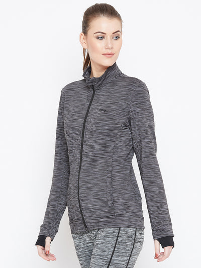 Women Black Solid Sporty Jacket - JUMP USA