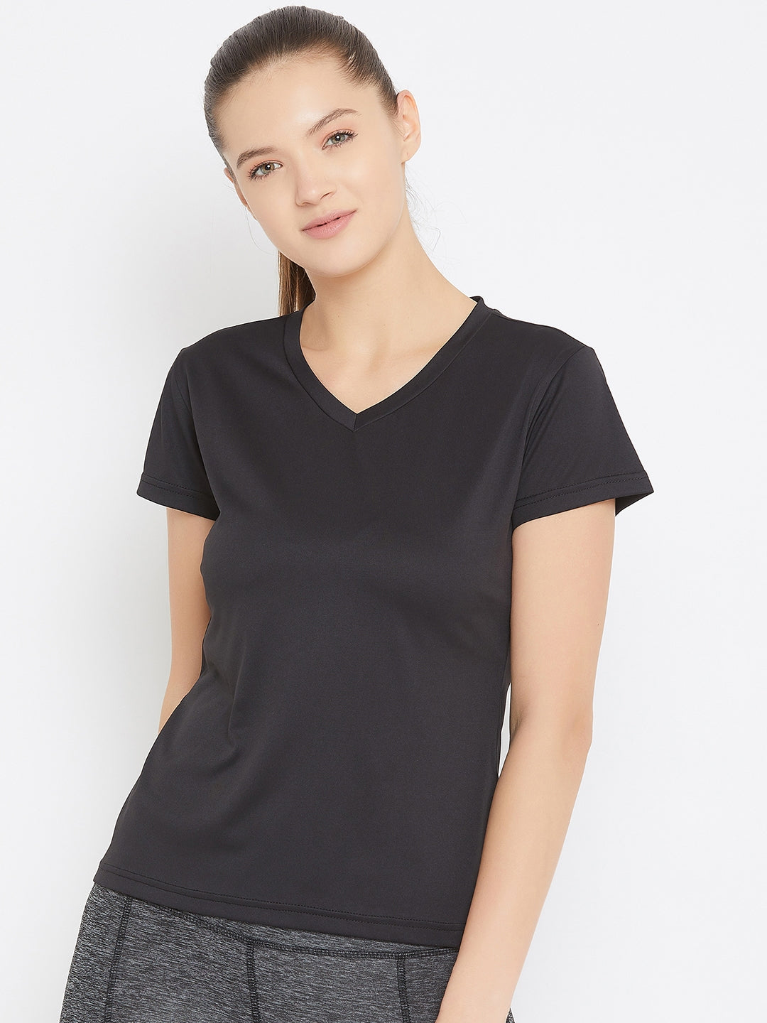 JUMP USA Women Black Active Wear V- Neck T-shirt