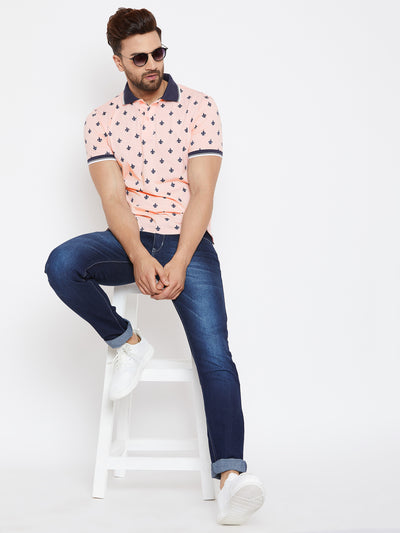JUMP USA Men Pink Printed Polo Collar T-Shirt - JUMP USA