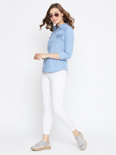 JUMP USA Women Regular Fit Blue Casual Denim Shirt