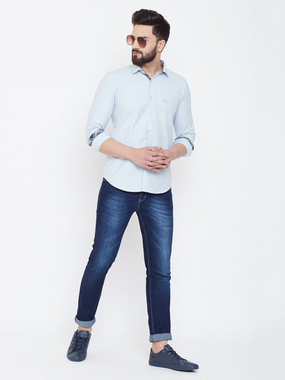 JUMP USA Men Cashmere Blue Solid Cotton Casual Shirts - JUMP USA