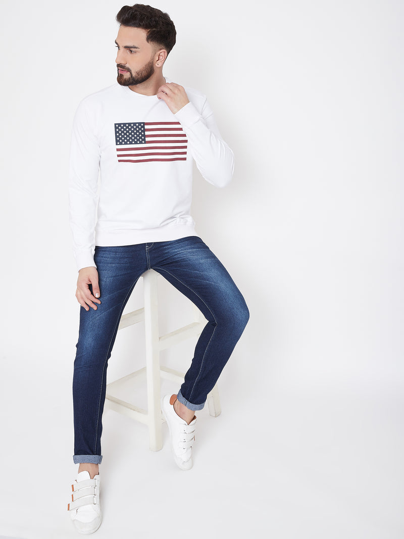 JUMP USA Men White Self Design Sweatshirt