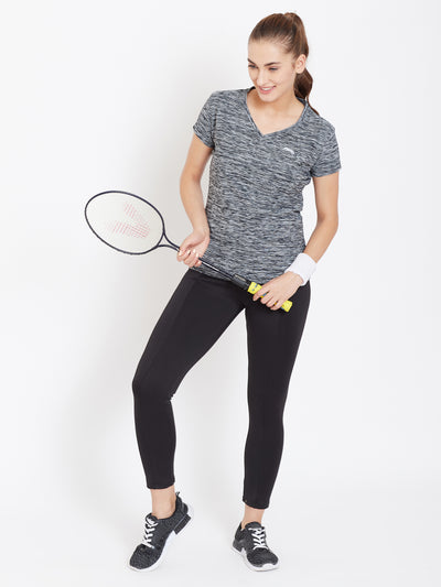 Women Black Solid Active Wear V Neck T-shirt - JUMP USA