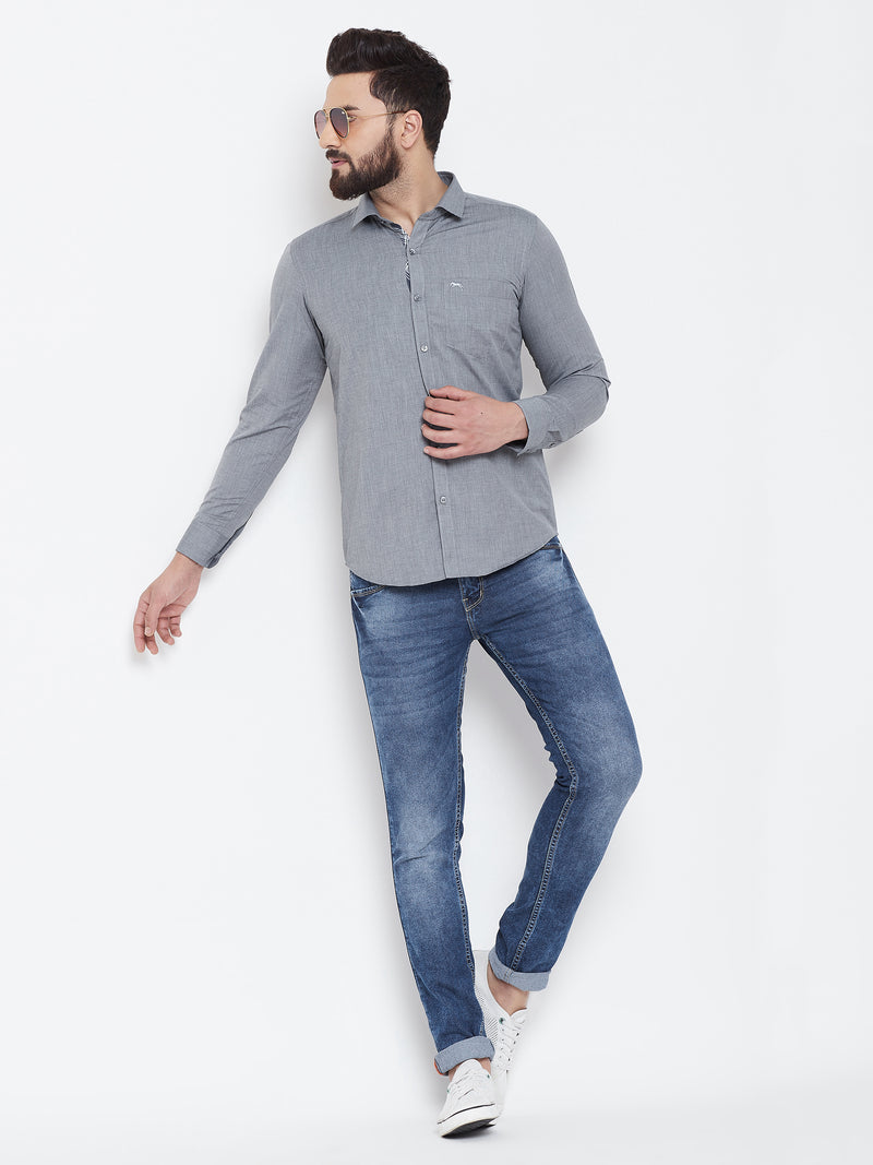 JUMP USA Men Grey Slim Fit Shirts