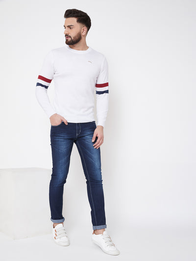 JUMP USA Men White Solid Sweater - JUMP USA