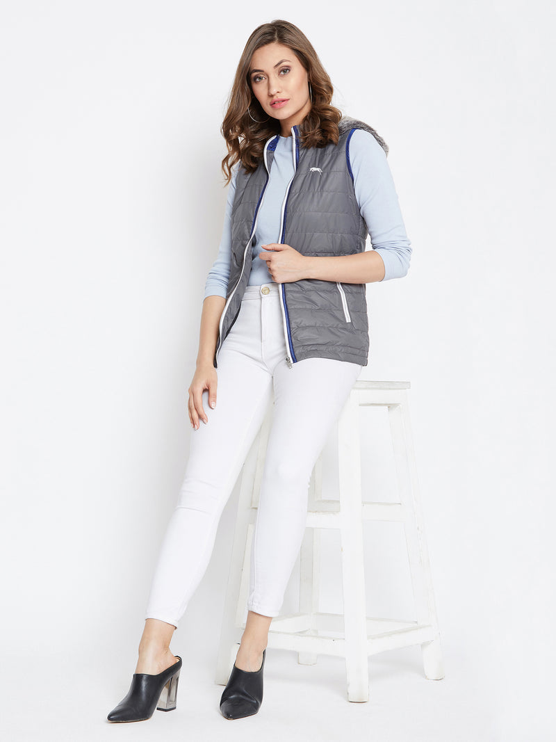 Women Grey Casual Quilted Jacket - JUMP USA