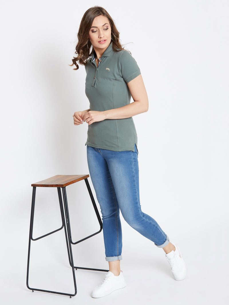 Women Grey Solid Polo Neck T-shirt