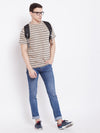 JUMP USA Men Beige Striped Round Neck T-shirt - JUMP USA