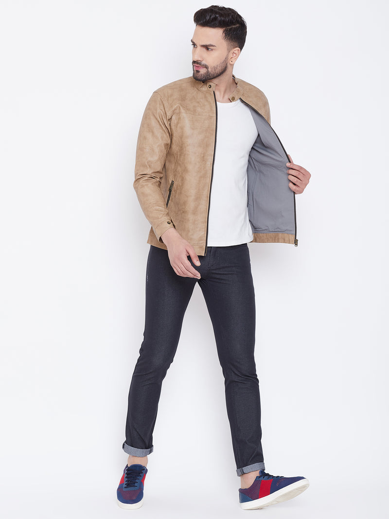 Men Casual Solid Khaki Leather Jacket - JUMP USA