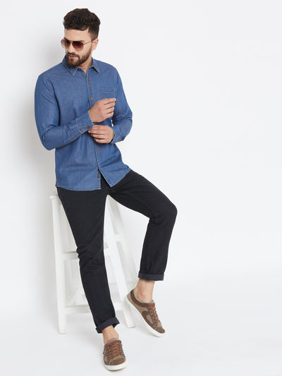 Men Dark Blue Washed Regular Fit Casual Shirt - JUMP USA