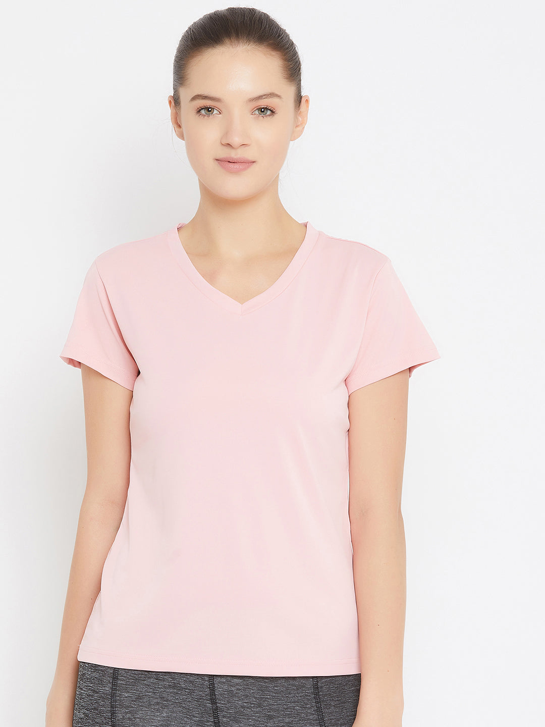 JUMP USA Women Pink Active Wear V- Neck T-shirt