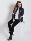 Women Casual Navy Blue Sporty Jacket - JUMP USA
