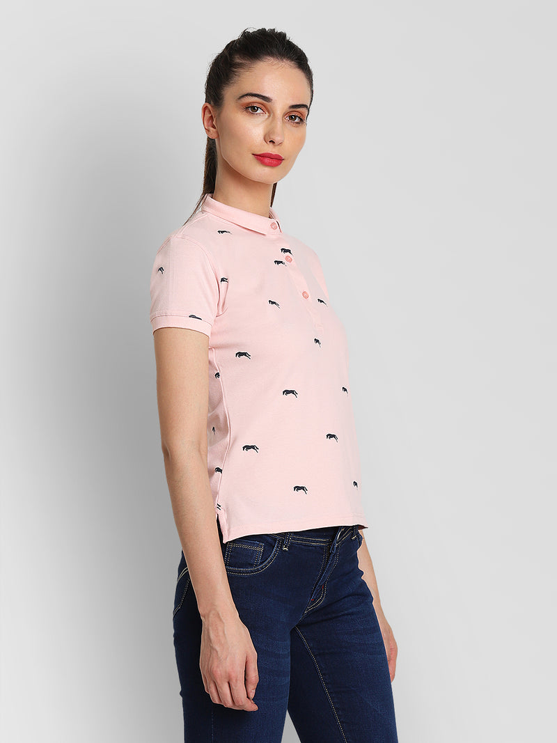 JUMP USA Women Pink & Navy Blue Printed Polo Collar T-Shirt