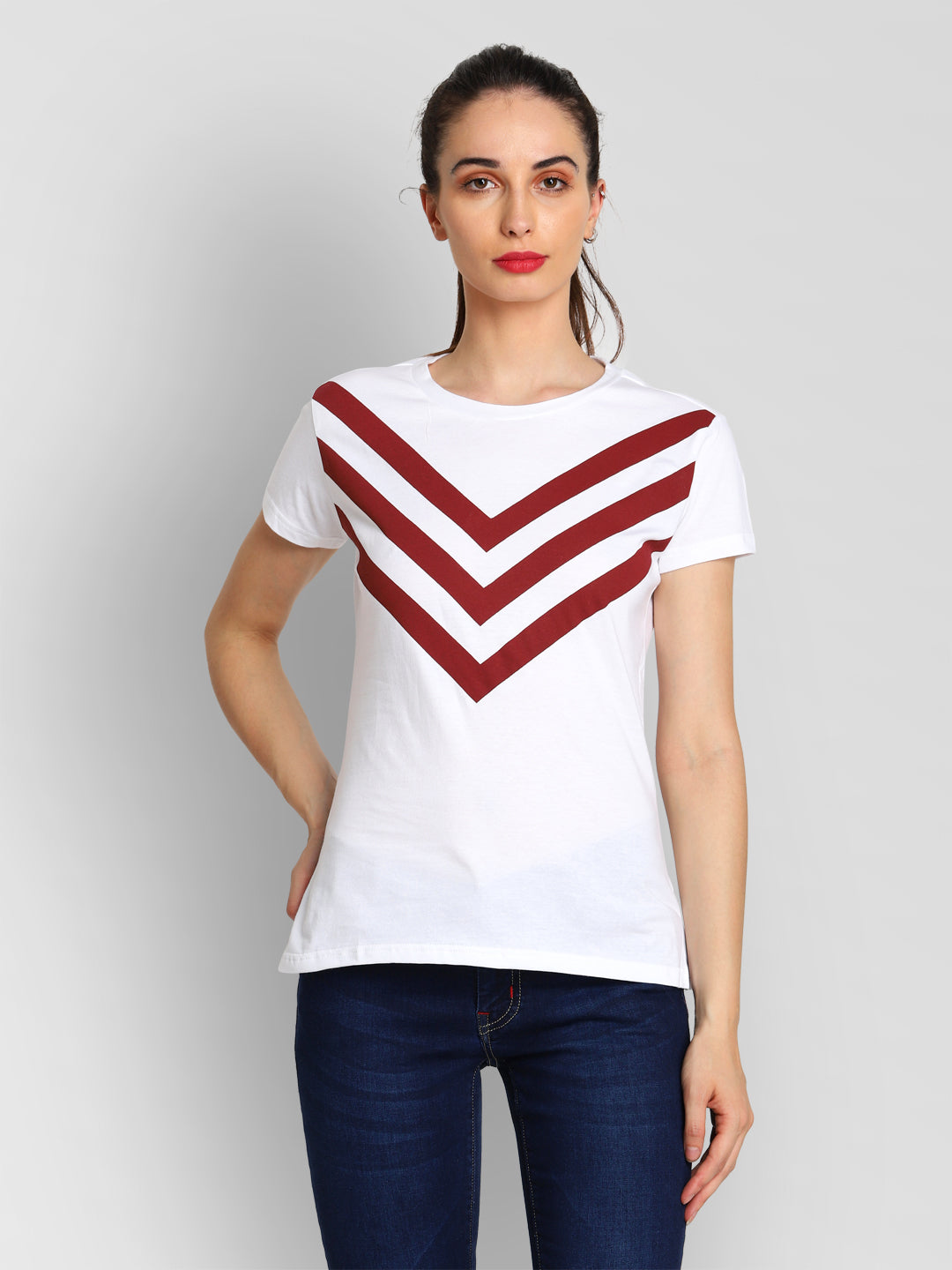 JUMP USA Women White & Red Solid T-Shirts