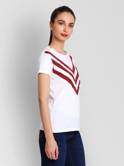 JUMP USA Women White & Red Solid T-Shirts - JUMP USA