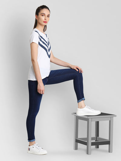JUMP USA Women White & Navy Blue Solid T-Shirts - JUMP USA