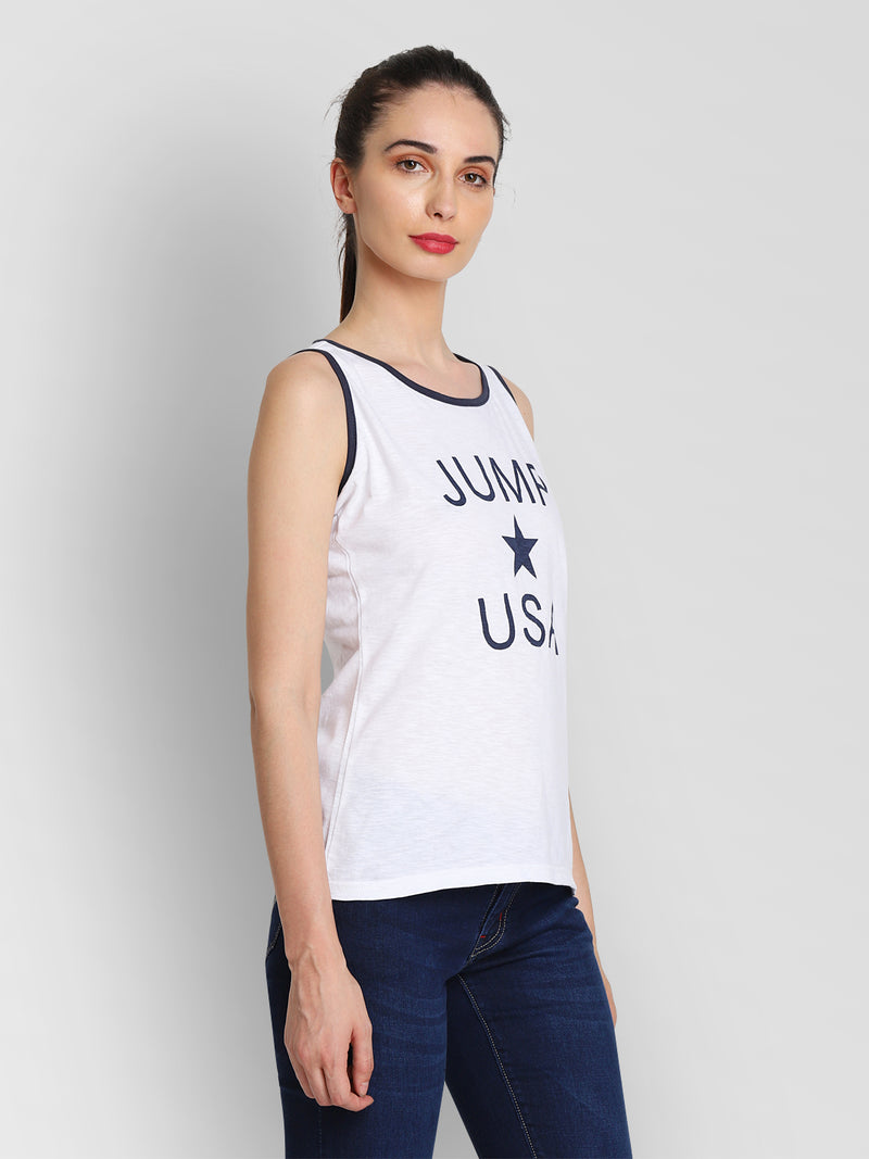 JUMP USA Women White Printed Tank Top - JUMP USA