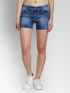 JUMP USA Women Blue Washed Skinny Fit Fit Denim Shorts - JUMP USA