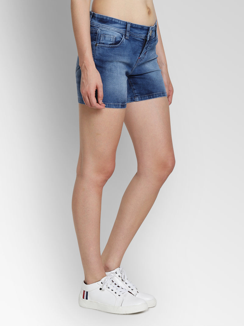 JUMP USA Women Blue Washed Skinny Fit Fit Denim Shorts