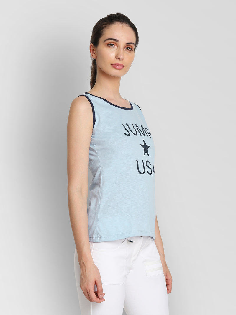JUMP USA Women Blue Printed Tank Top - JUMP USA