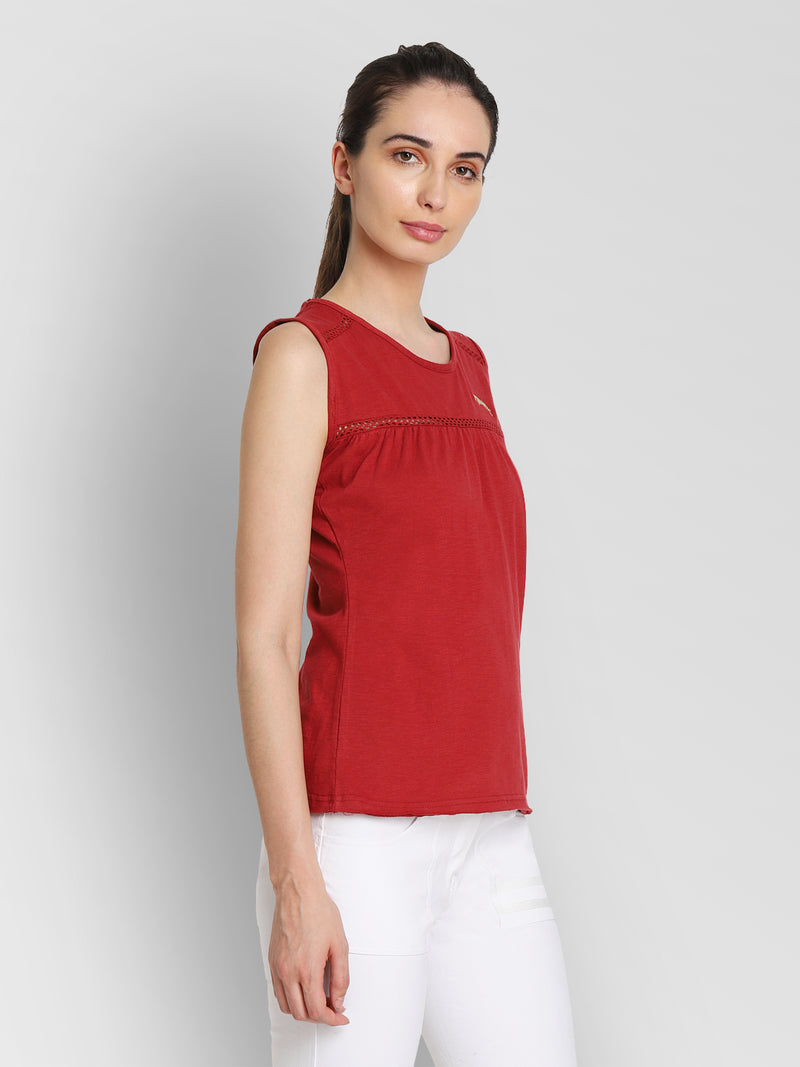 JUMP USA Women Red Solid Regular Top - JUMP USA