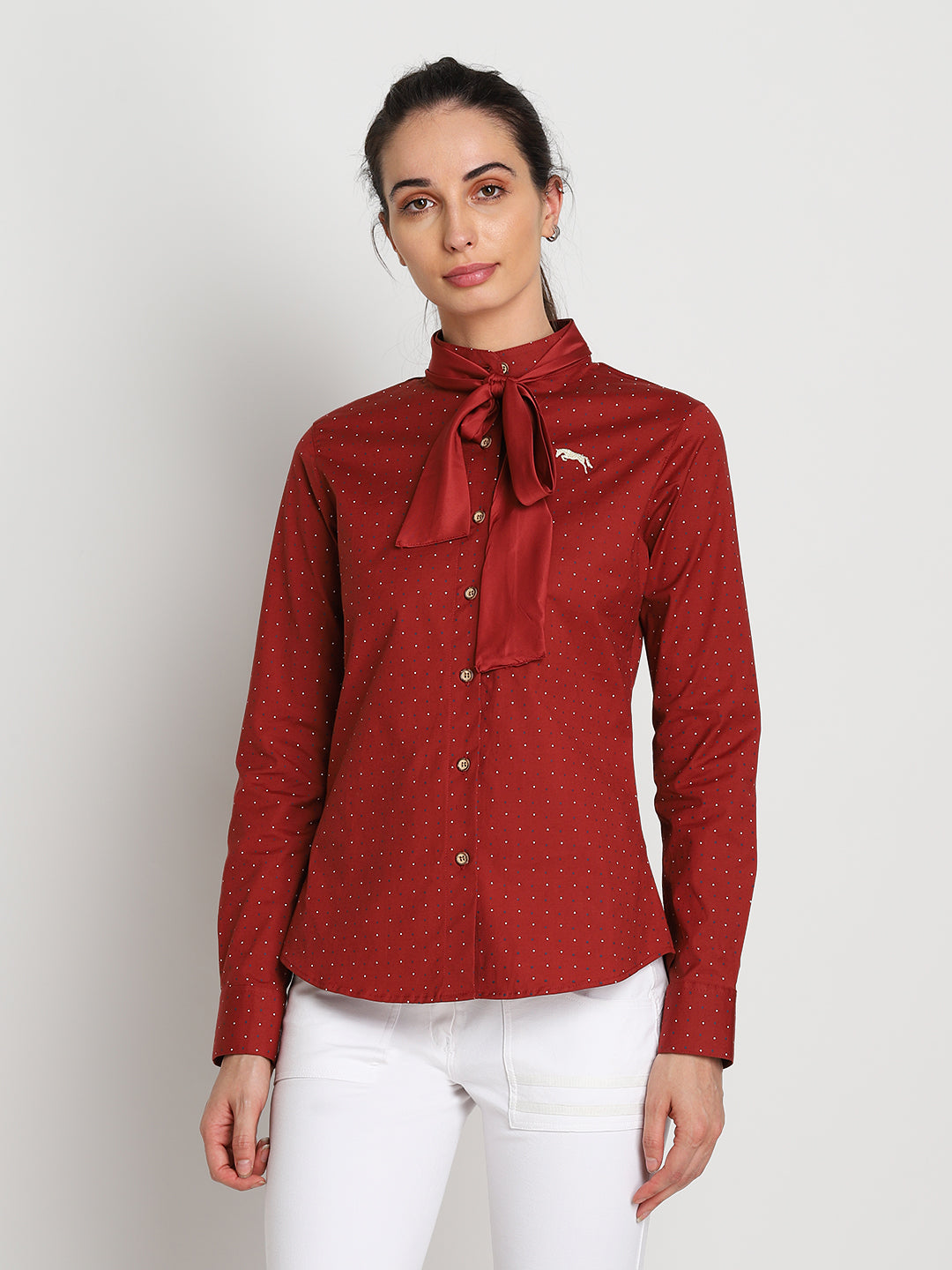 JUMP USA Women Red Self Design Casual Shirt - JUMP USA