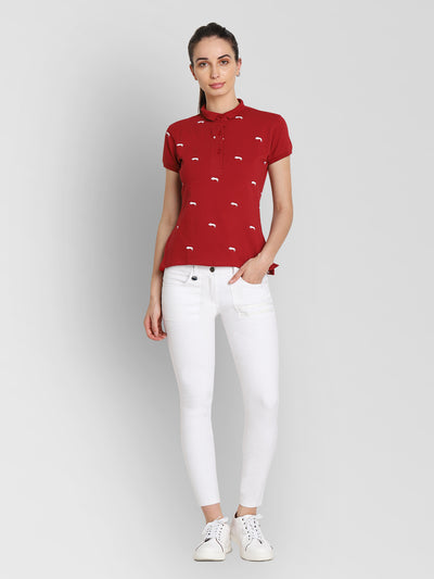 JUMP USA Women Red & White Printed Polo Collar T-Shirt - JUMP USA