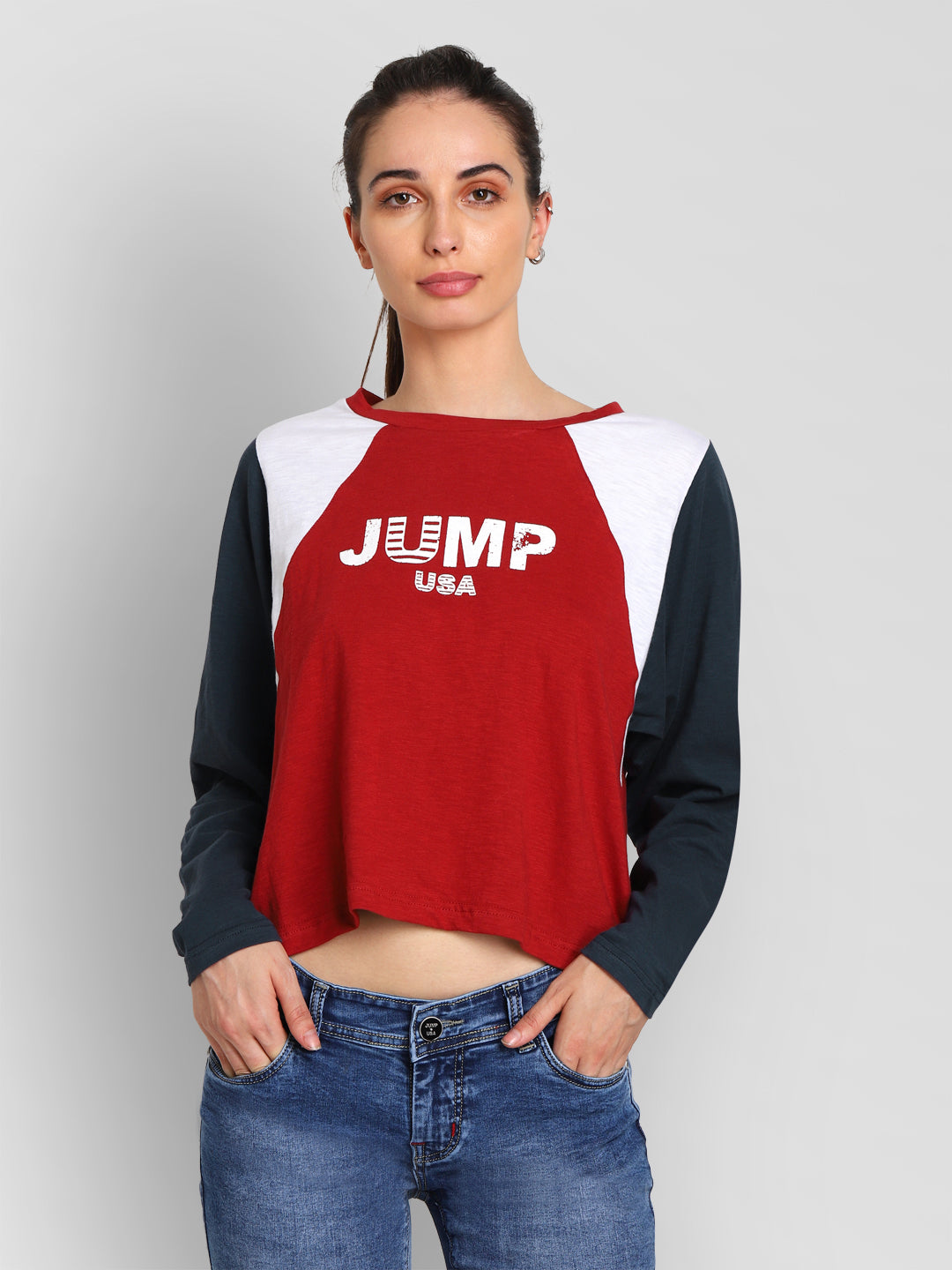 JUMP USA Women Red Self Design Crop Top - JUMP USA