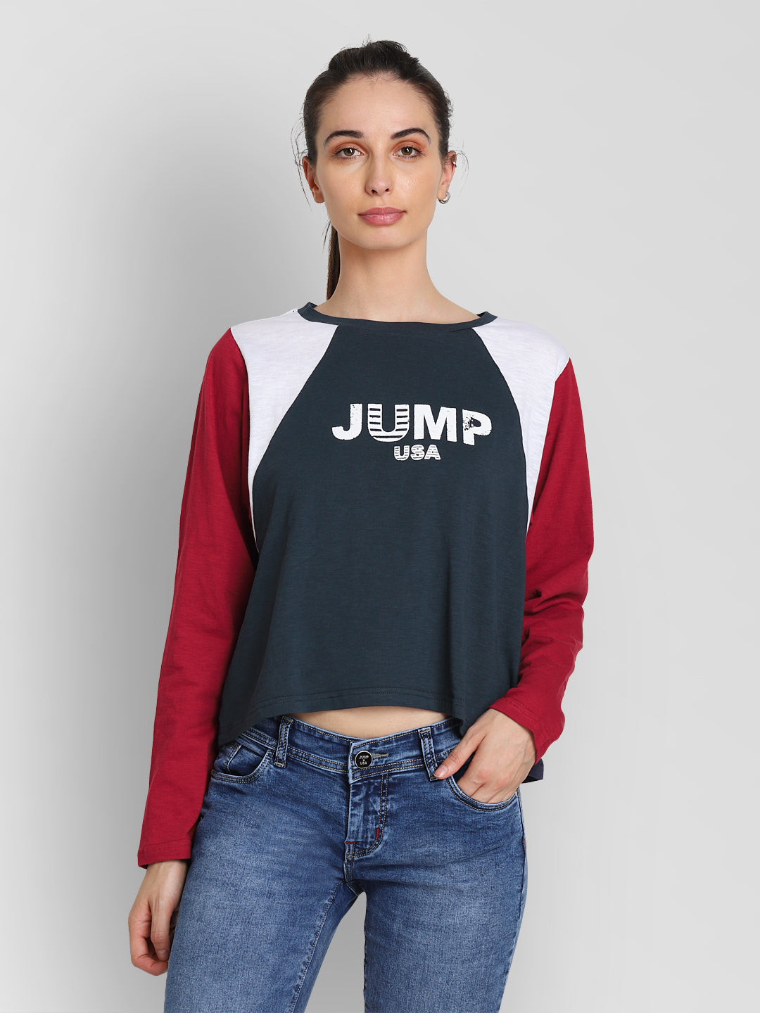 JUMP USA Women Navy Blue Self Design Crop Top - JUMP USA