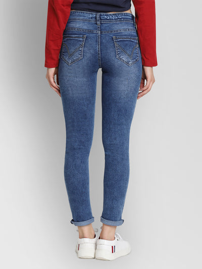 JUMP USA Women Blue Slim Fit Mid-Rise Clean Look Stretchable Jeans - JUMP USA