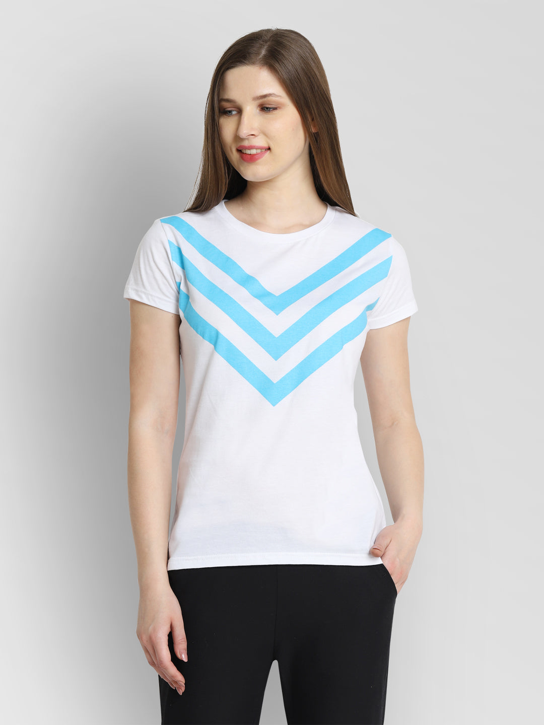 JUMP USA Women White & Blue Solid T-Shirts - JUMP USA