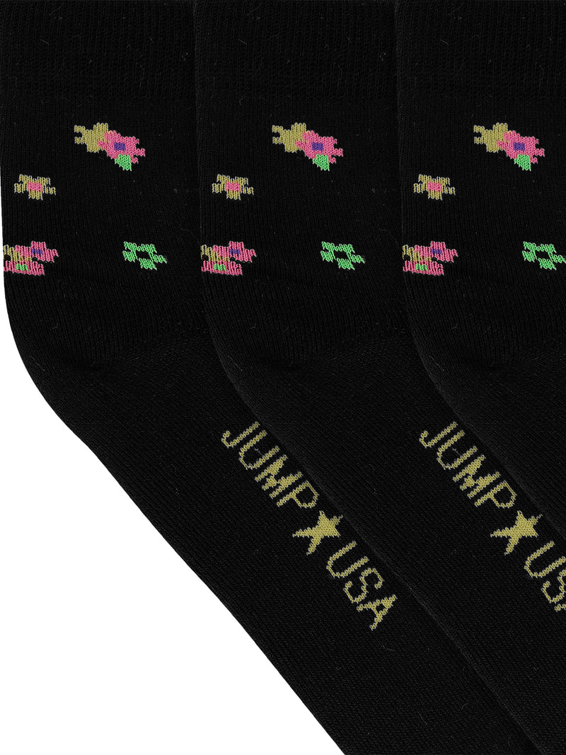JUMP USA Women's Cotton Ankle Length Socks (Black,Green,Yellow, Free Size) Pack of 3