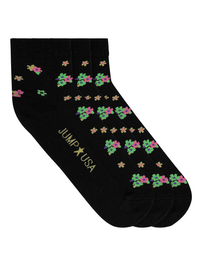 JUMP USA Women's Cotton Ankle Length Socks (Black,Green,Yellow, Free Size) Pack of 3 - JUMP USA