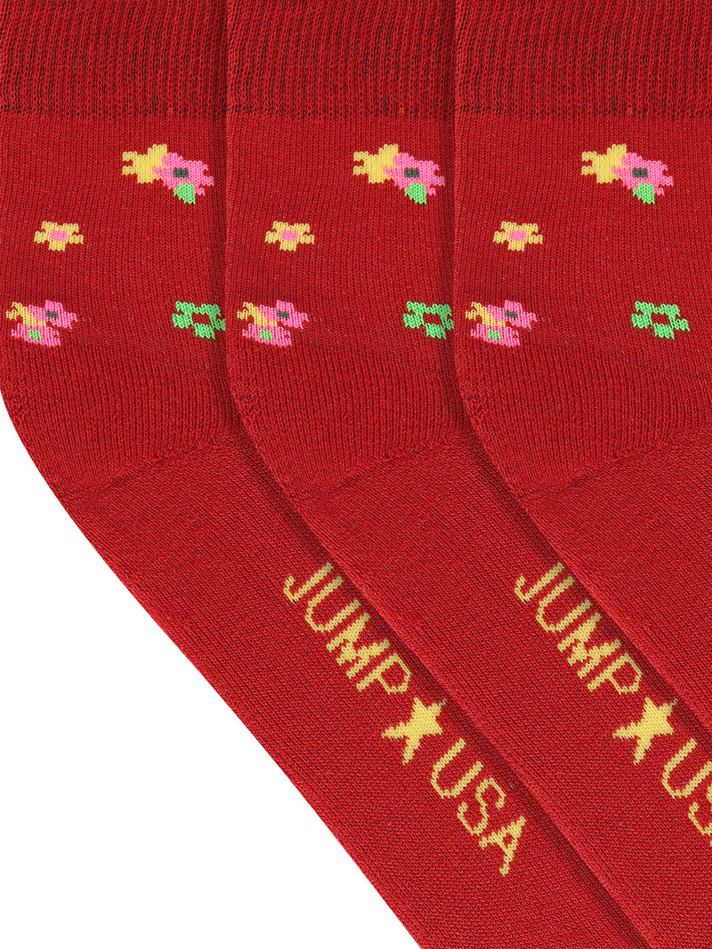 JUMP USA Women's Cotton Ankle Length Socks (Red,Green,Yellow, Free Size) Pack of 3