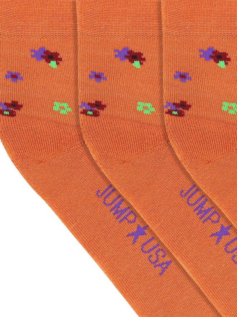 JUMP USA Women's Cotton Ankle Length Socks (Orange,Blue,Green, Free Size) Pack of 3 - JUMP USA
