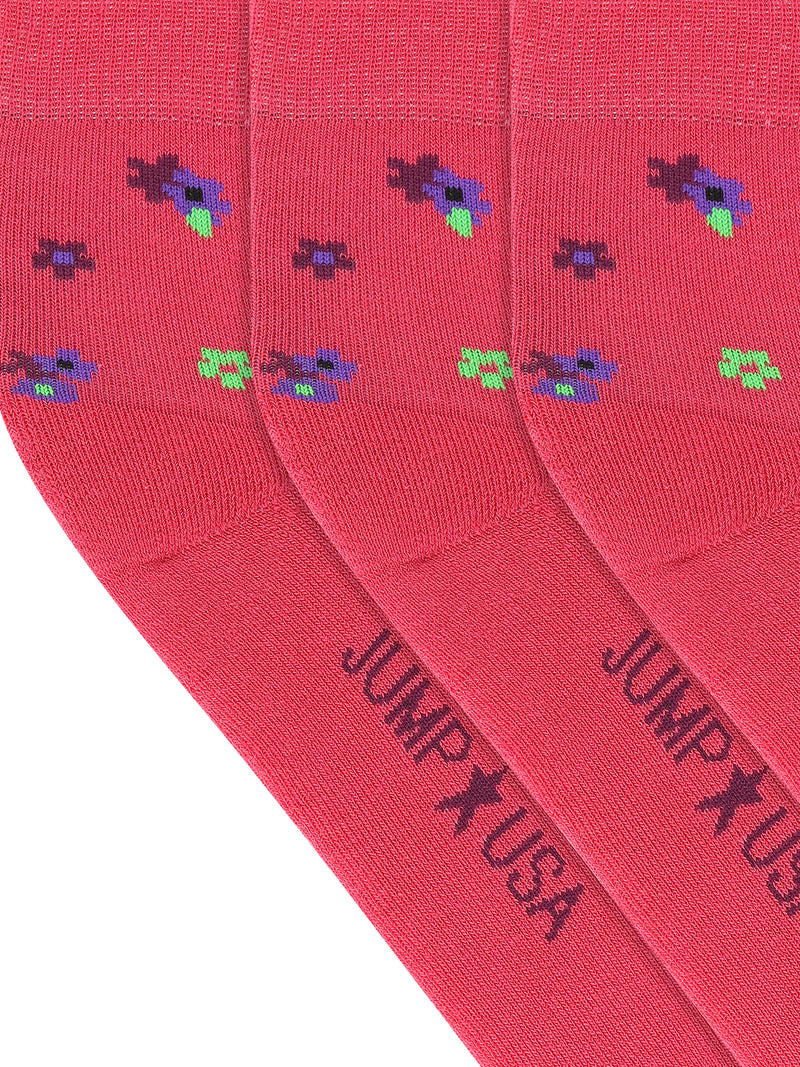 JUMP USA Women's Cotton Ankle Length Socks (Pink,Blue,Green, Free Size) Pack of 3