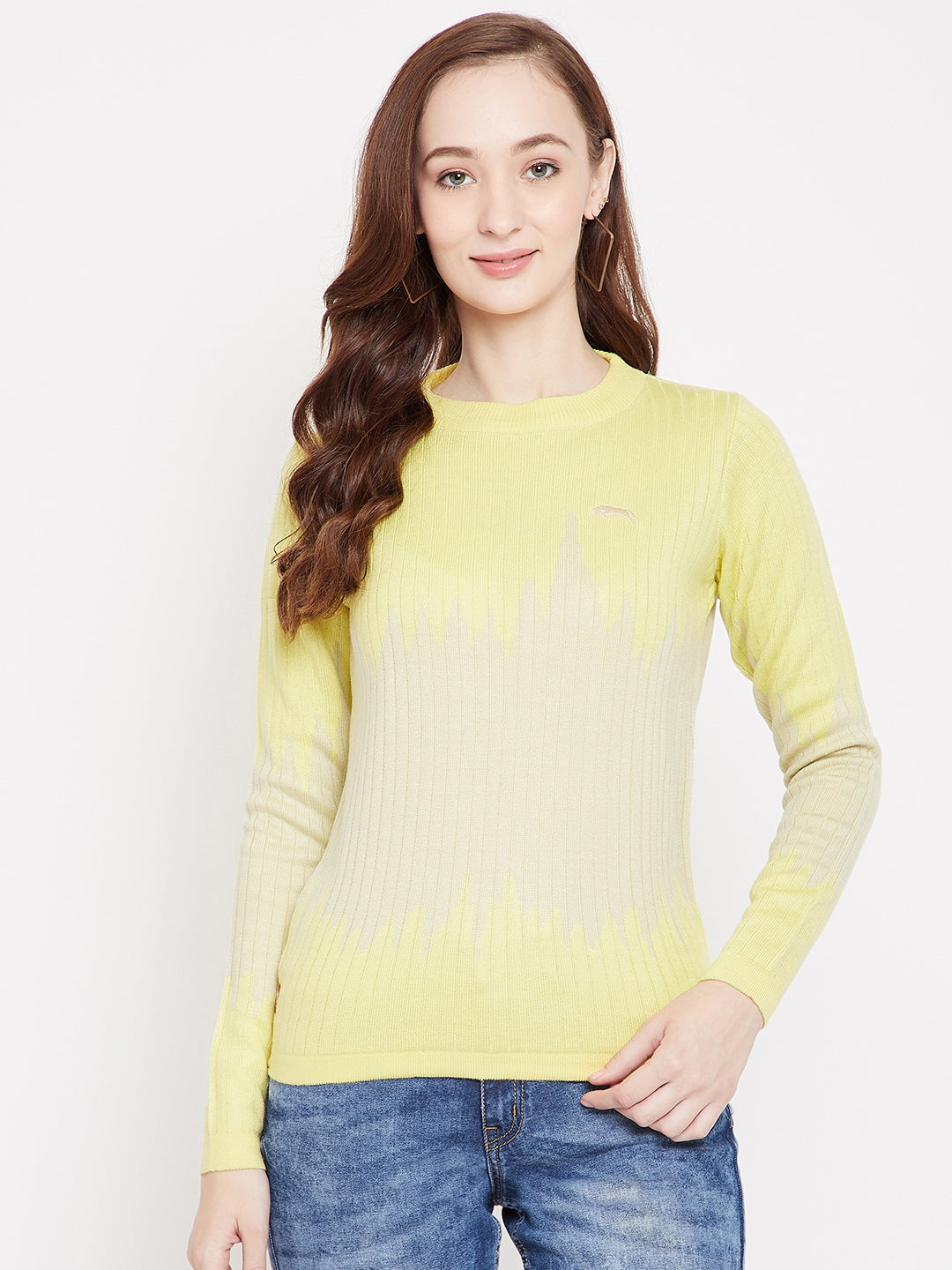 JUMP USA Women Yellow Ribbed Pullover Sweater