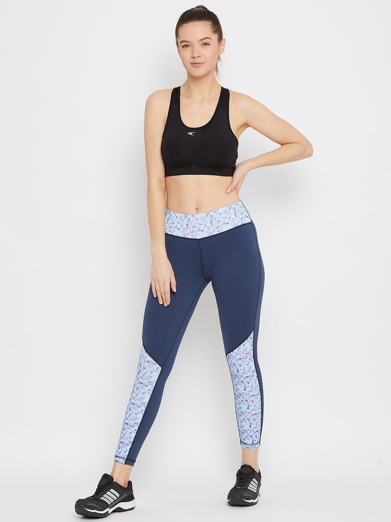 JUMP USA Women Blue Solid Active Wear Tights