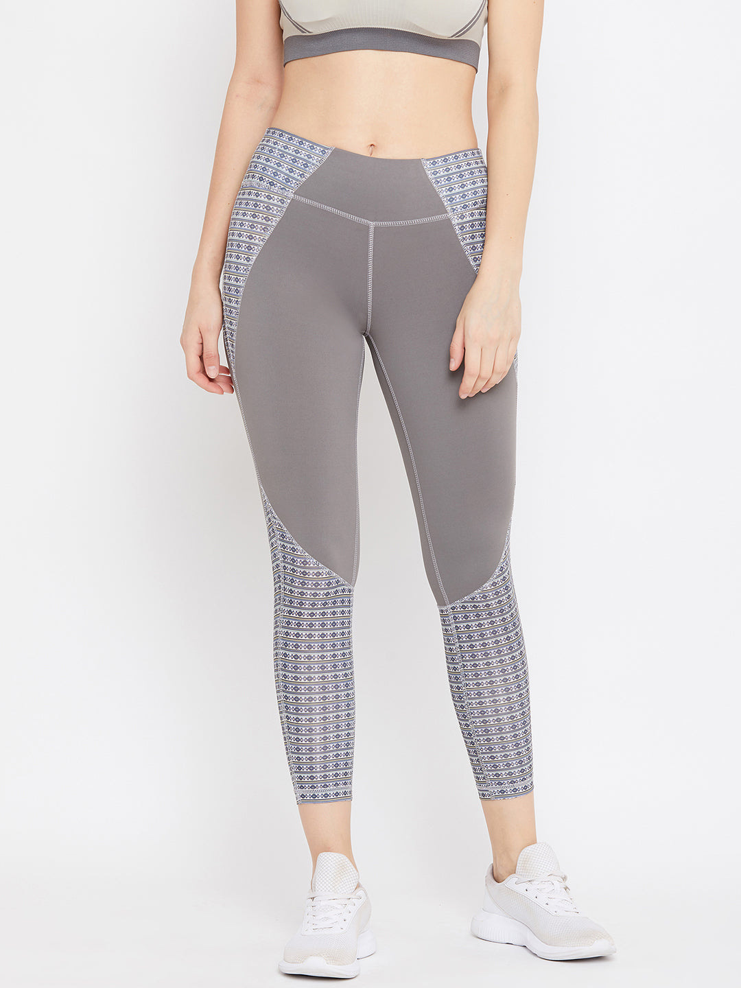 JUMP USA Women Grey Printed Active Wear Tights