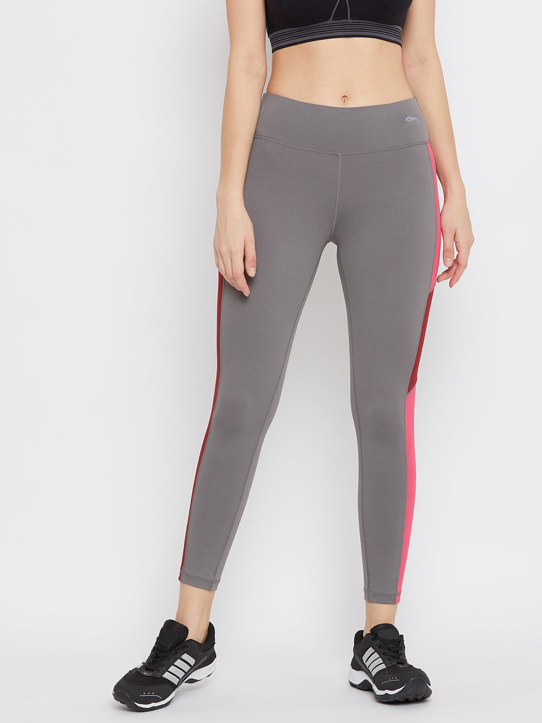 JUMP USA Women Grey & Pink Solid Active Wear Tights