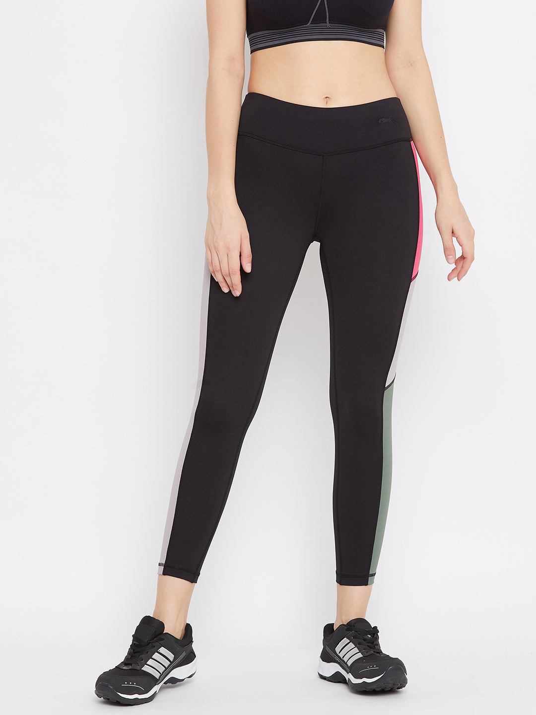 JUMP USA Women Black Solid Active Wear Tights