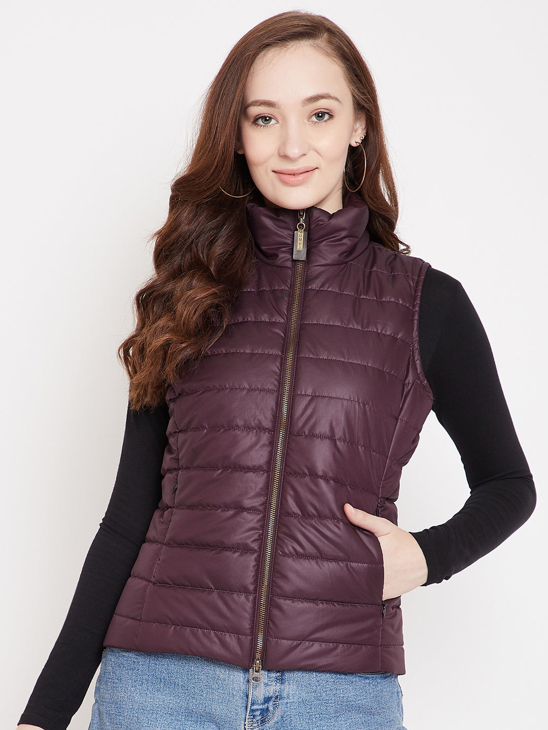 JUMP USA Womens Wine Quilted Vest Jacket