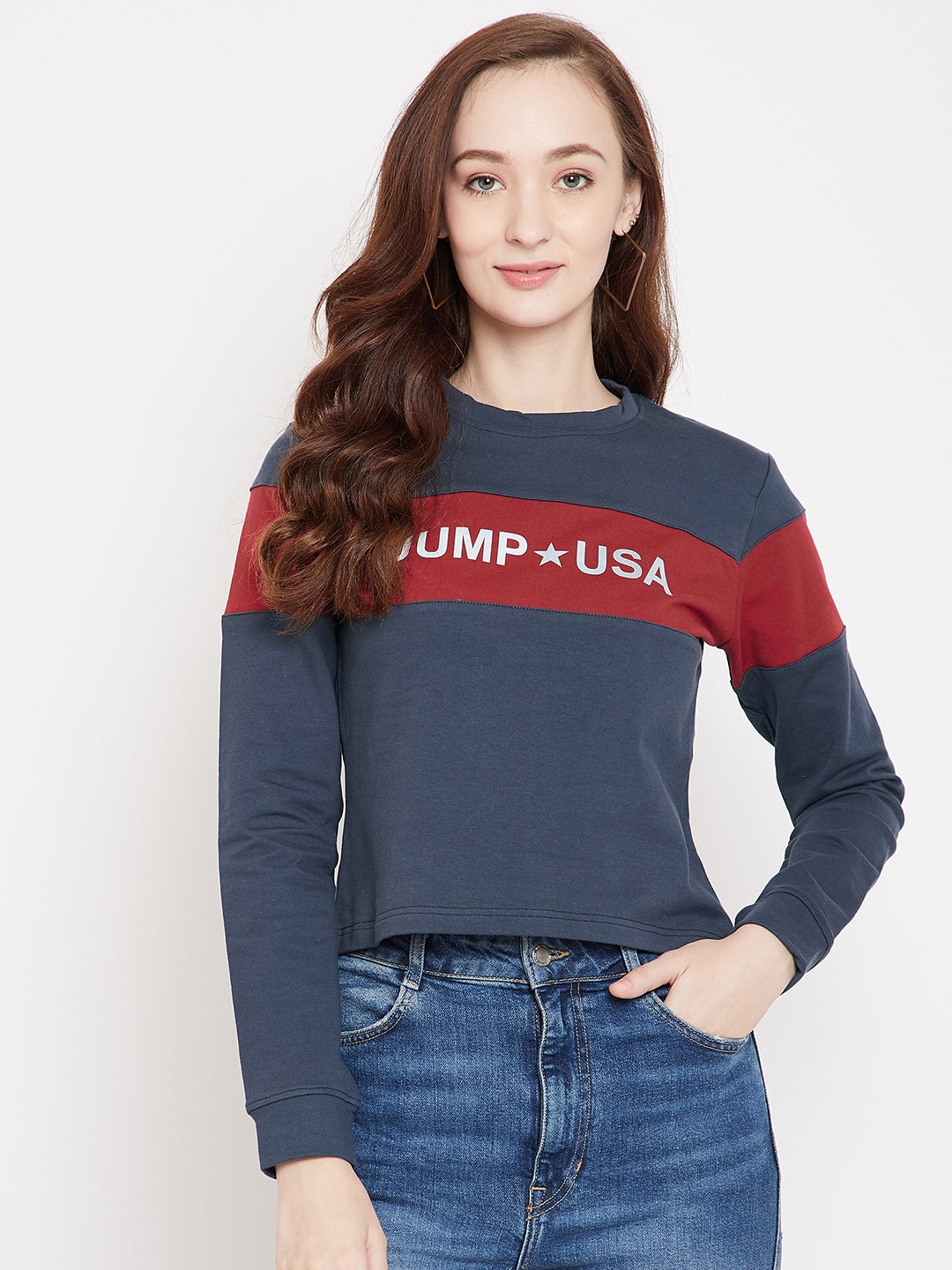 JUMP USA Women Navy Blue Sweatshirt