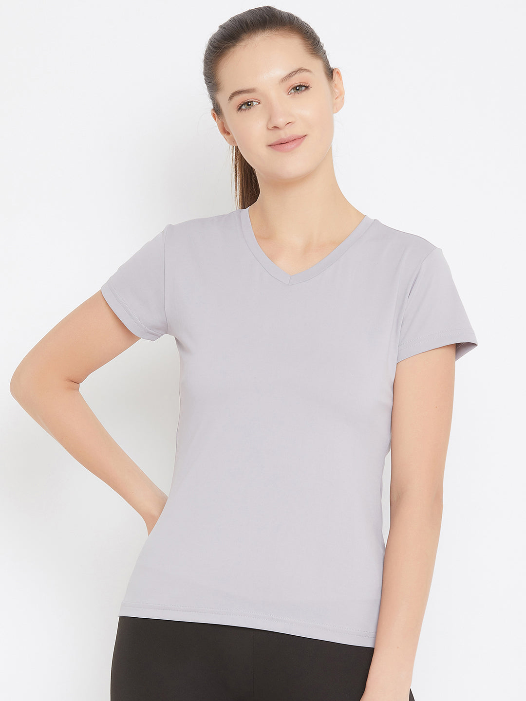 JUMP USA Women Grey Active Wear V- Neck T-shirt